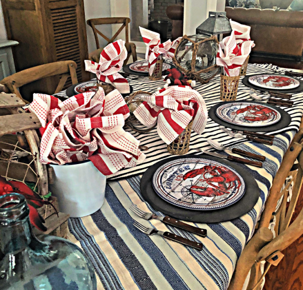 Table set with seafood decorated dinner plates