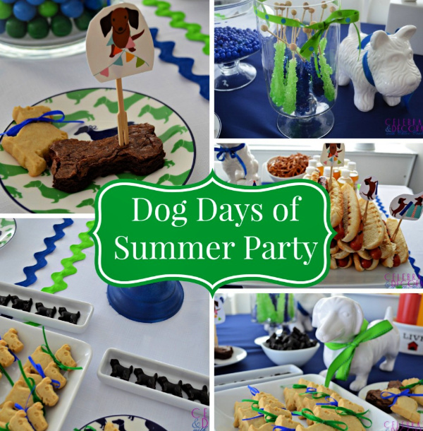 green and blue party pictures of a dog days of summer party with cute dachshund snack plates