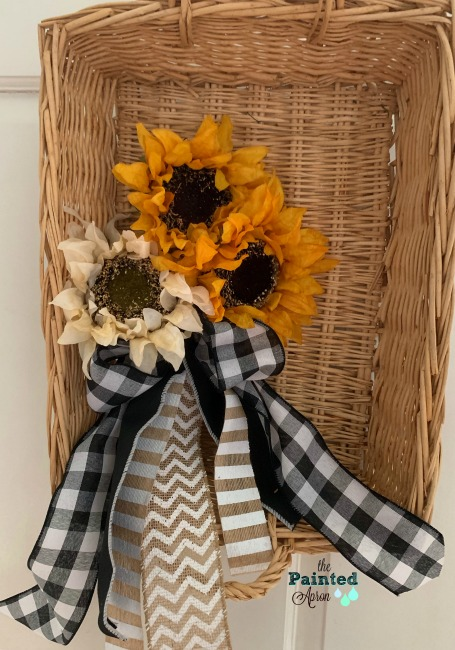 Sunflowers in a basket to hang on a front door