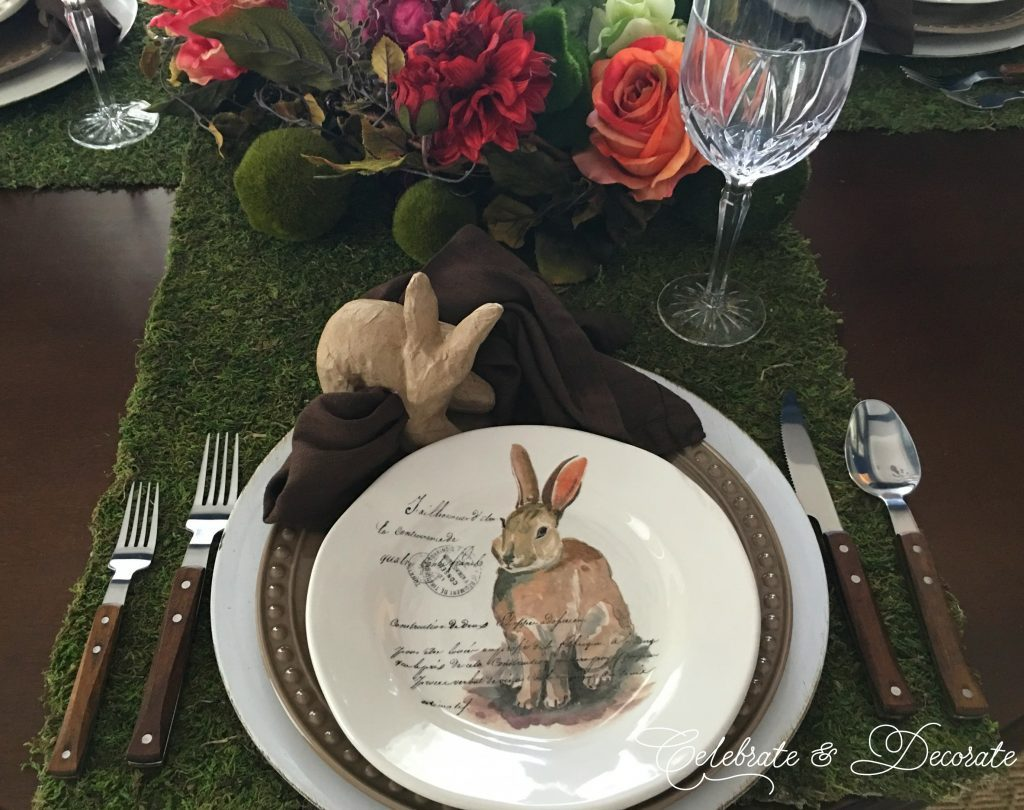 a french rabbit salad plate with moss runner for a spring table