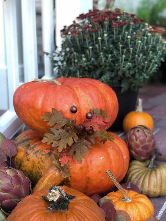 Pumpkins and mums for fall decor