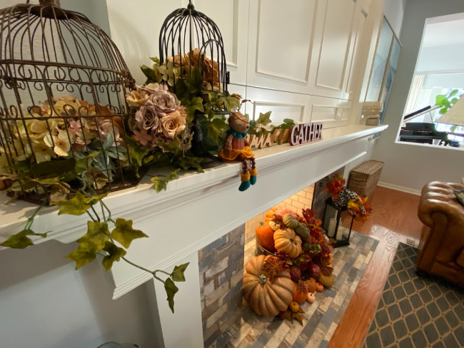 fall decorated mantel and hearth