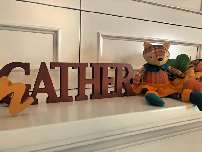 Wooden sign that says gather and sweet plaid fox decoration for fall