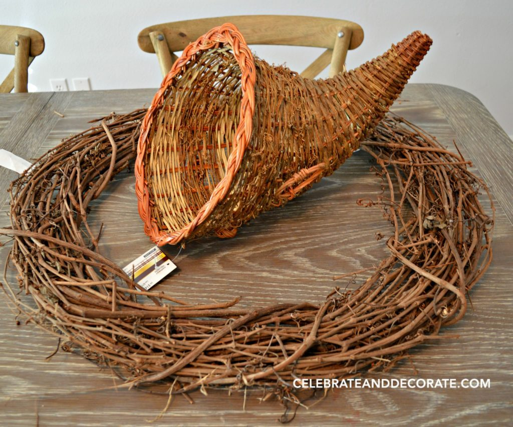 Grapevine wreath and wicker cornucopia