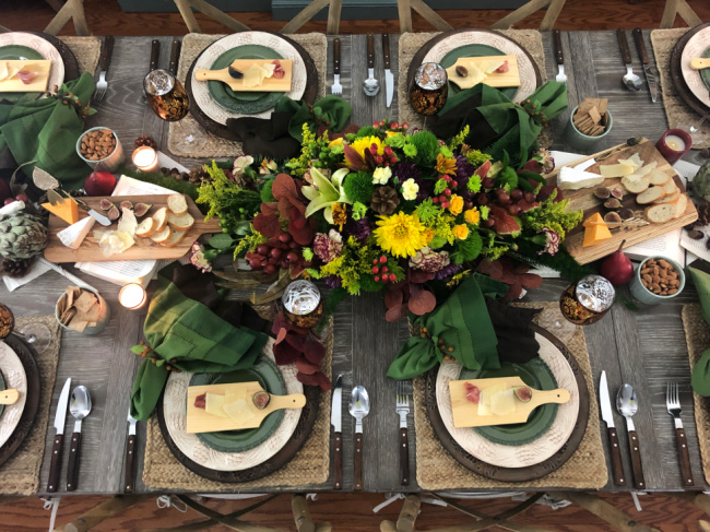 Table set for an elaborate fall dinner