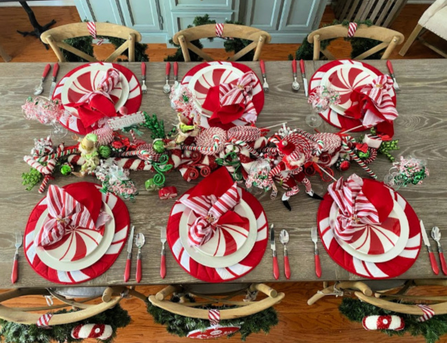 A peppermint and candy cane themed tablescape for the holidays.