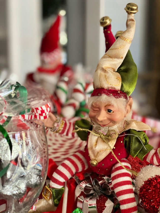 Silly elf as part of a christmas centerpiece