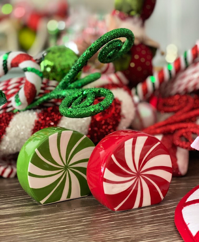Peppermint swirl red and green salt and pepper shakers