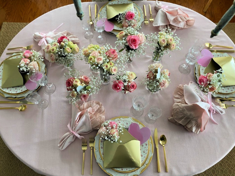 Valentine tablescape featuring pink roses