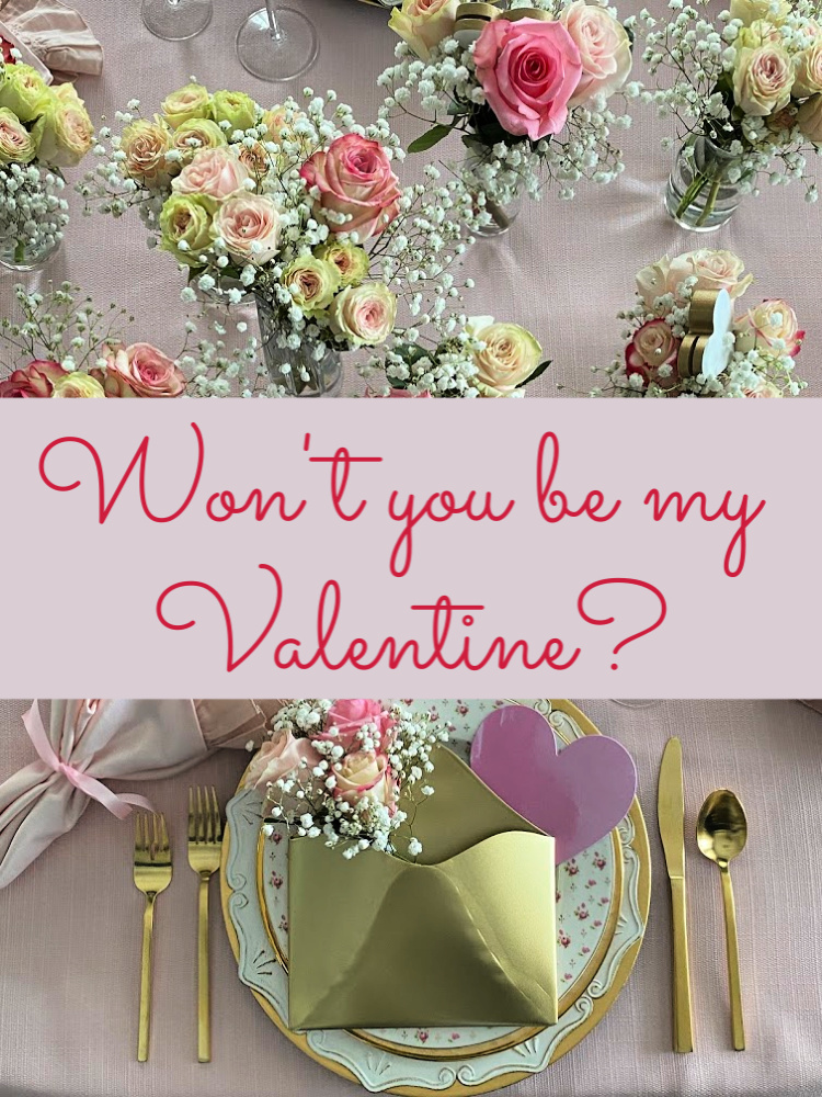 Valentine table with title over it