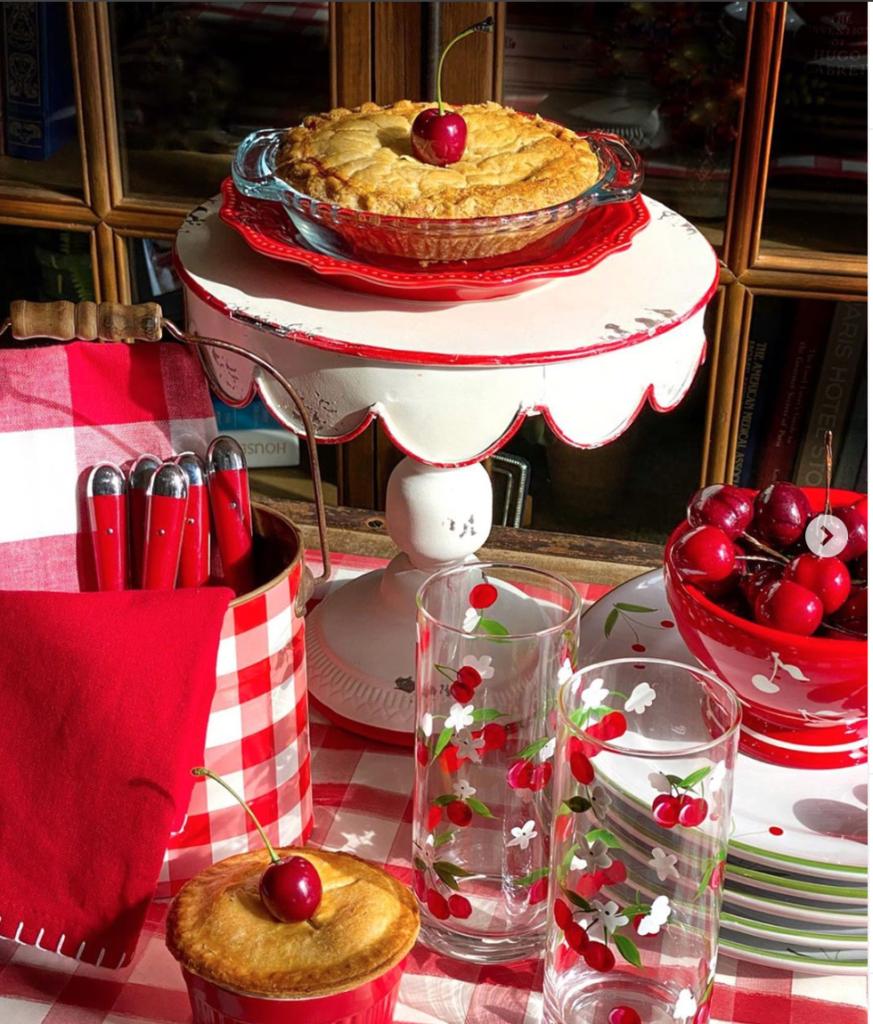 Cherry pie and cherry juice glasses