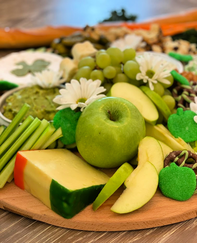 St. Patrick's Day grazing board with green foods