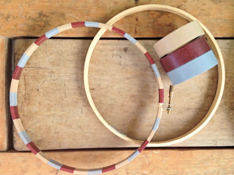 Washi tape embroidery hoops