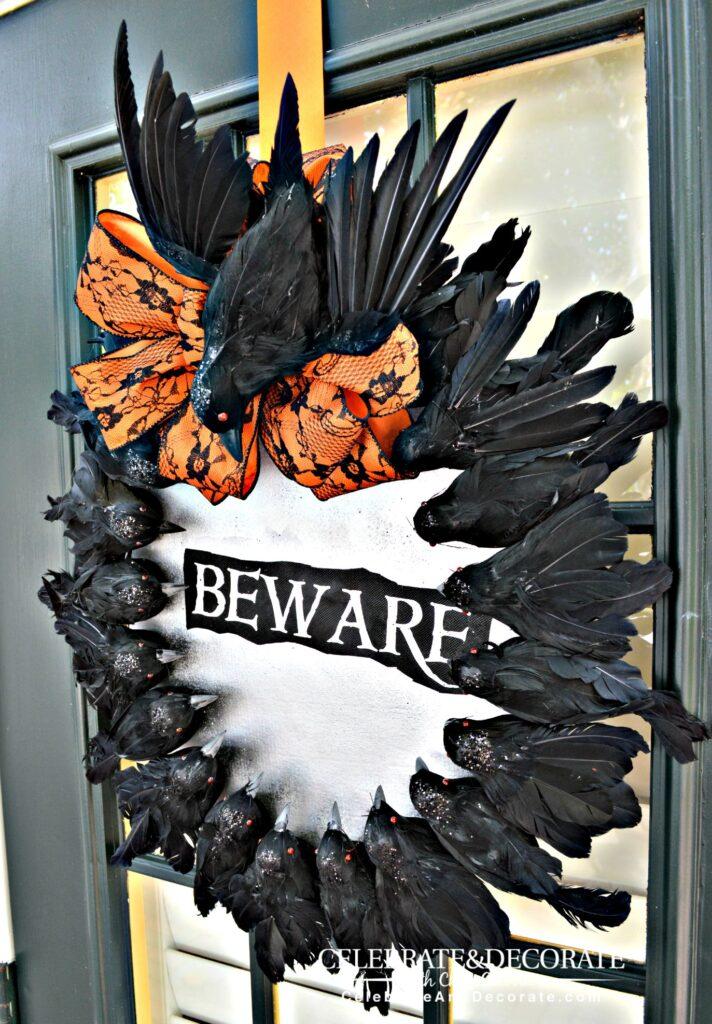creepy crow wreath for halloween