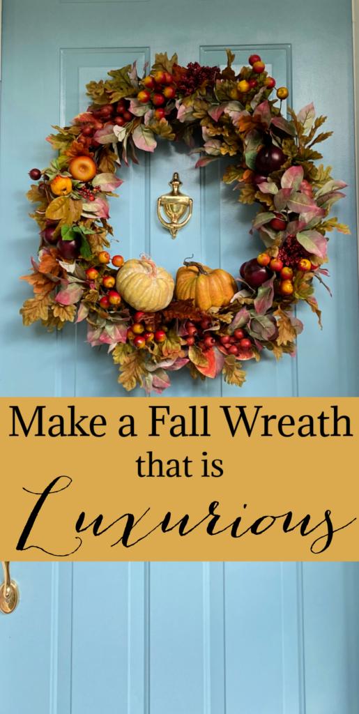 Luxurious Fall wreath on a blue door