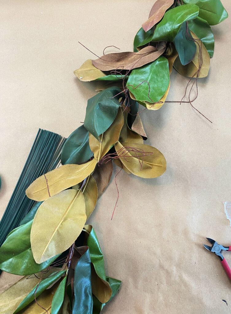 faux magnolia garland