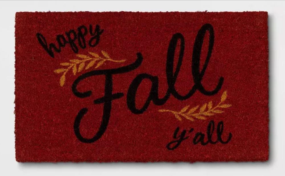 Red fall door mat