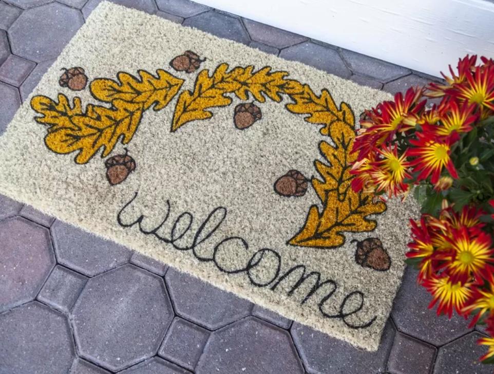 door mat with oak leaves and acorns