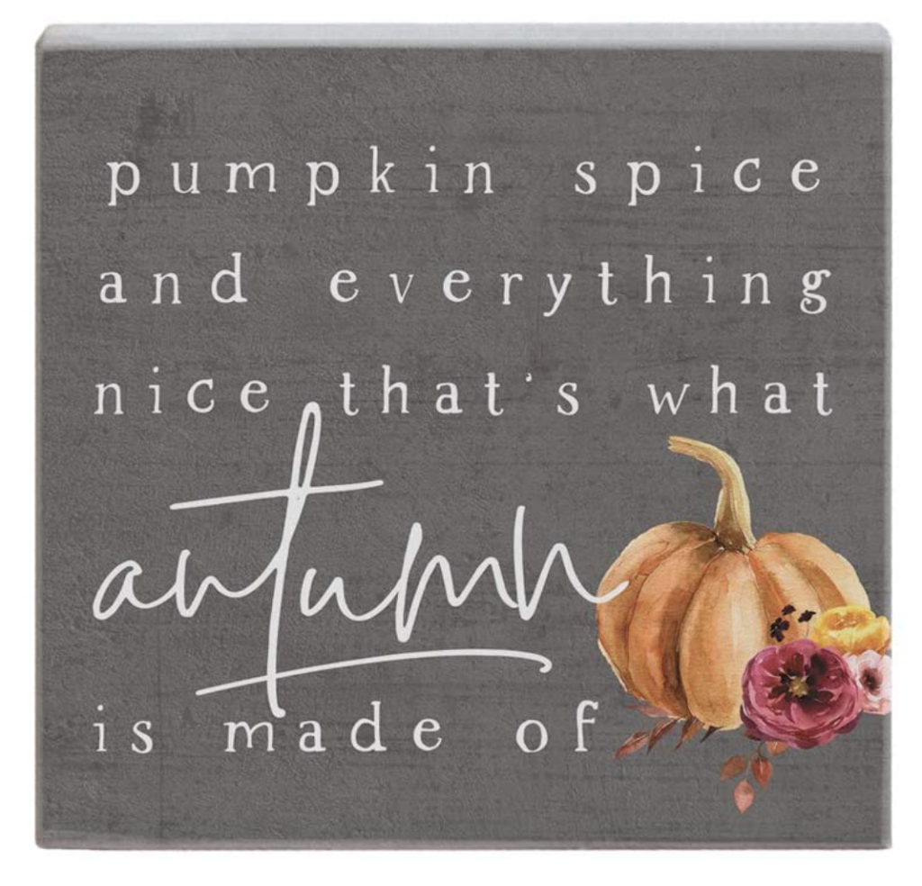 gray sign for autumn that says pumpkin spice and everything nice
