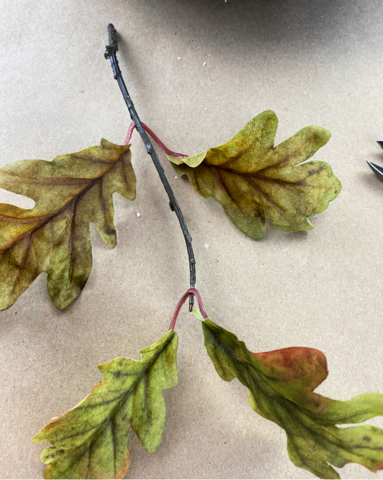 faux oak leaf branch pick
