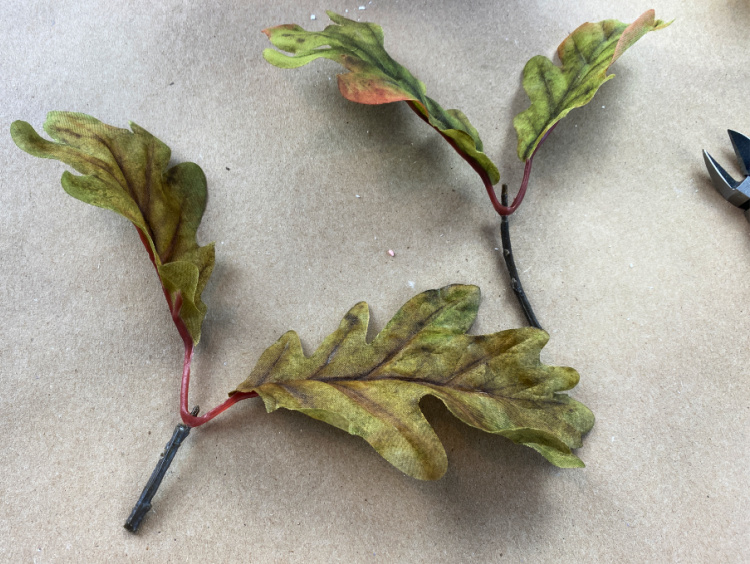 faux oak leaves cut into small picks