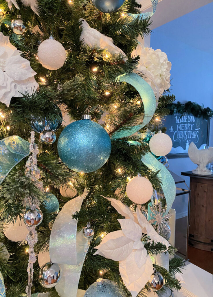Icy Blue And White Christmas Tree Celebrate Decorate