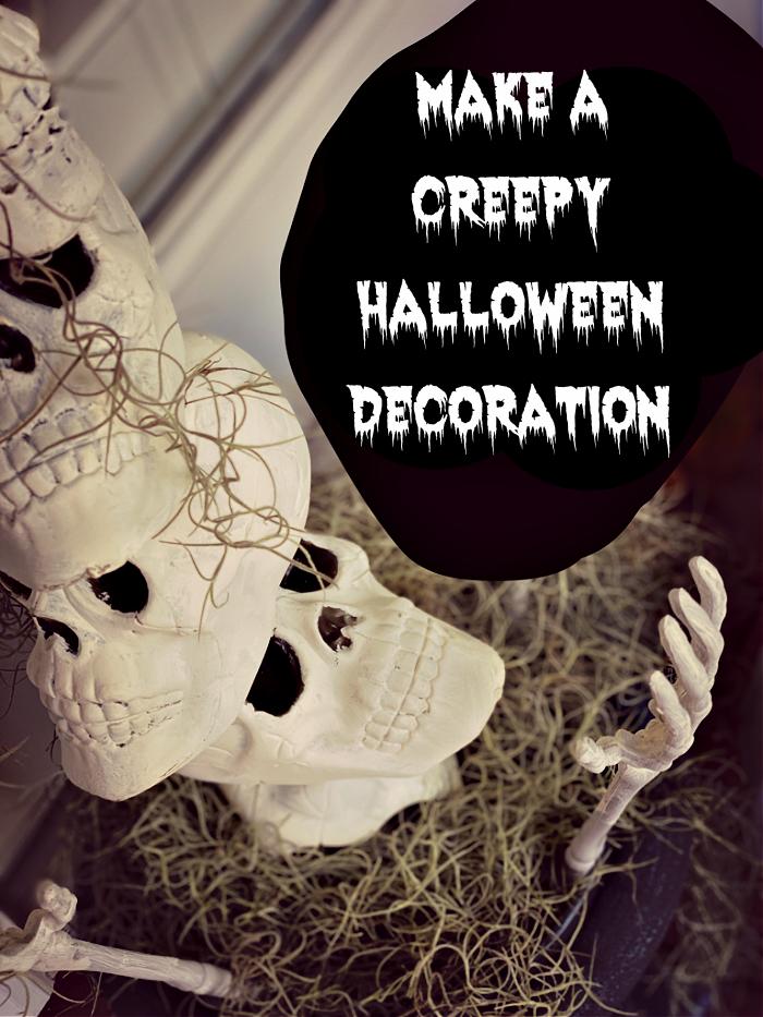 black blob that says make a creepy halloween decoration and halloween skulls looking up at the camera